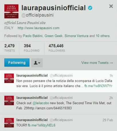 Sul profilo di Laura Pausini il saluto al collega