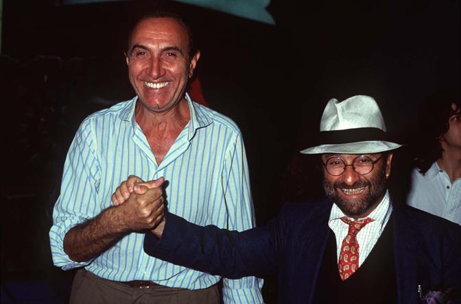 Lucio Dalla con Pippo Baudo (Olycom)