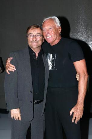 Con lo stilista Giorgio Armani (Olycom)