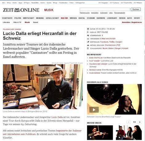 Anche i giornali di lingua tedesca hanno omaggiato Lucio Dalla. Ecco Die Zeit.