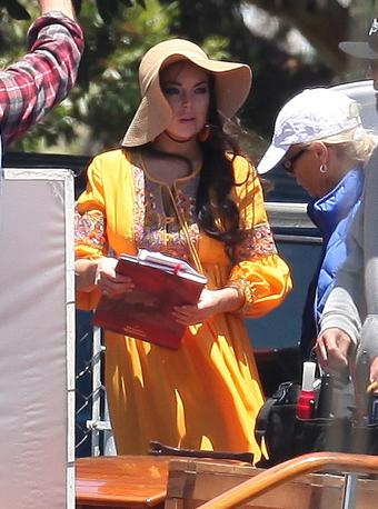 Marina del Rey, Usa, Lindsay Lohan durante le riprese di  Liz and Dick, il film sulla tormentata storia d&#39;amore tra Elizabeth Taylor e Richard Burton (Olycom)