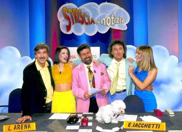 Veline story: la Merz e la Quaranta con Lello Arena, Marco Columbro ed Enzo Iacchetti (Olycom)