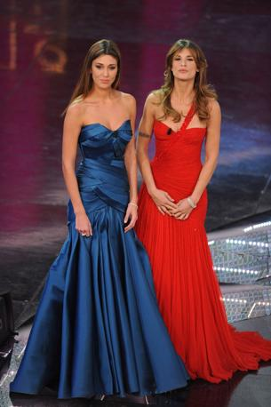 L'entrata in scena di Belen ed Elisabetta Canalis (Infophoto)