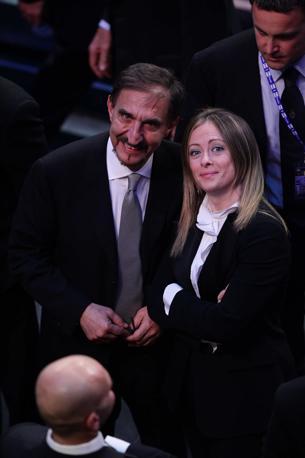 I ministri La Russa e Meloni all'Ariston (Olycom)