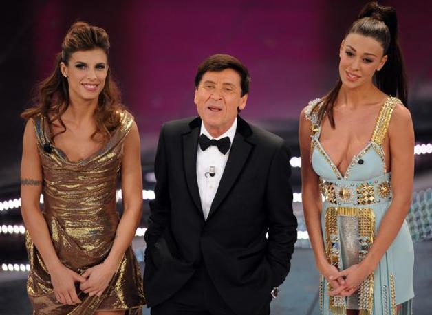 La quarta serata del 61mo Festival di Sanremo. Gianni Morandi con Belen Rodriguez e Elisabetta Canalis sul palco del teatro Ariston(Ansa)