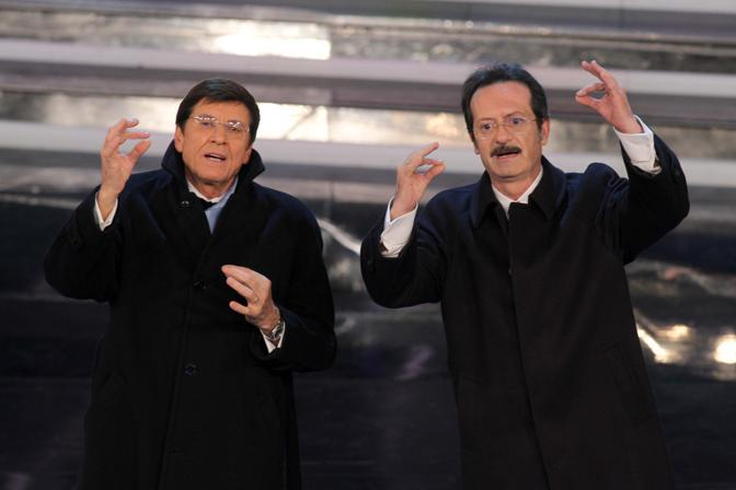 Gianni Morandi e Rocco Papaleo (talyphotopress)