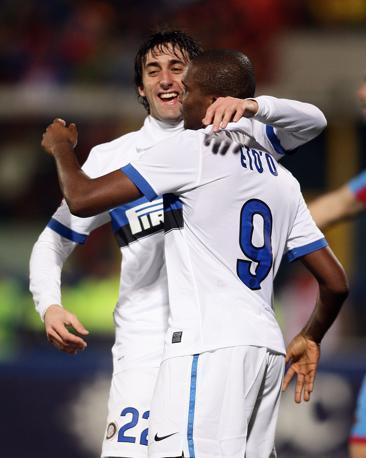 Milito esulta dopo il gol del momentaneo vantaggio dell'Inter (Fotopress)