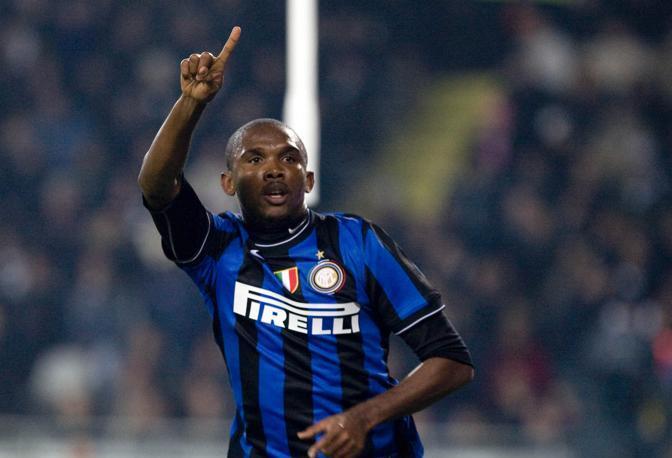 Juventus-Inter: Samuel Eto'o subito dopo aver siglato il pareggio (Ap)