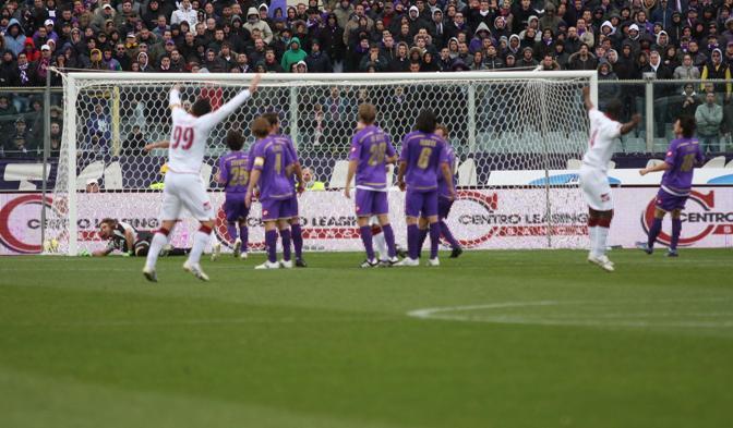 Fiorentina-Livorno: il gol di Rivas (Lapresse)