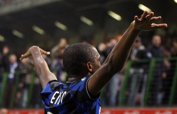 Inter-Livorno: l'esultanza dell'attaccante (Ap)