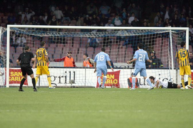 Napoli-Parma: il secondo gol dei partenopei, a firma Hamsik (Lapresse)