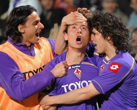 Fiorentina-Inter: Keirrison de Souza Carneiro esulta con Felipe e Jovetic (Ansa)