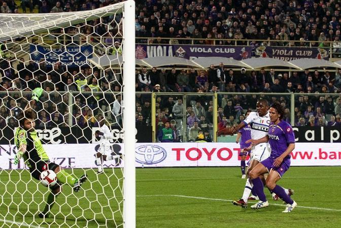 Fiorentina-Inter: Eto'o porta in temporaneo vantaggio i nerazzurri al 36' del secondo tempo (Kines)