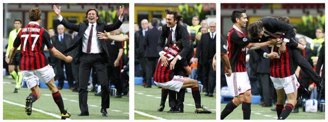 La corsa di Luca Antonini per abbracciare e sollevare in aria Leonardo dopo il gol (Ap)
