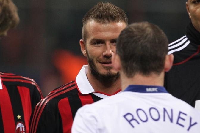 Milan-Manchester United: Beckham saluta l'ex compagno Rooney (Jonathan Moscrop/LaPresse)