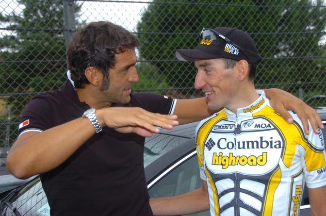 2009: Campionato Italiano cronometro ciclismo sport nella foto: Ballerini con Marco Pinotti (Liverani)