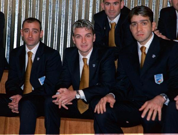 2001: con Paolo Bettini e Michele Bartoli (Ap)