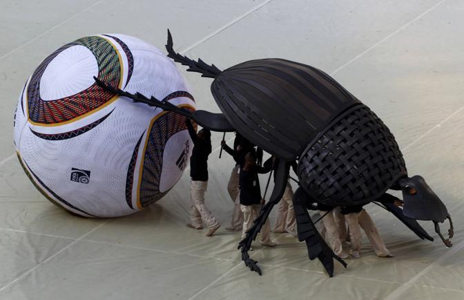 Uno scarabeo stercorario gigante spinge un pallone da calcio (Reuters/Gray)