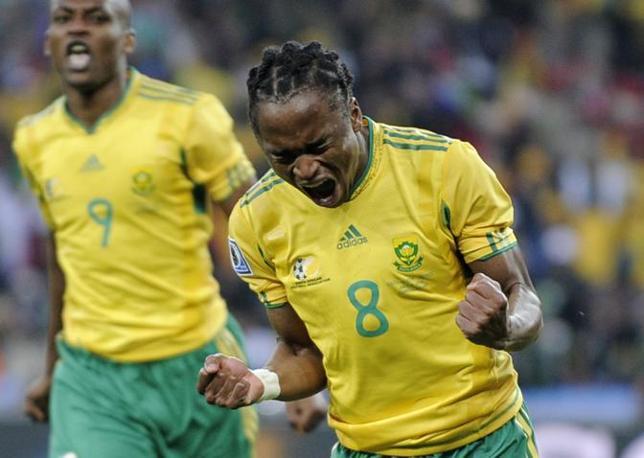 Prima partita del Mondiale: Sudafrica-Messico 1-1. Vantaggio sudafricano al 10' della ripresa con Siphiwe Tshabalala (Ap/Martin Meissner)