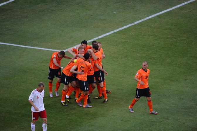 Olanda-Danimarca:?La gioia olandese per l'1-0 (Afp/Nam)