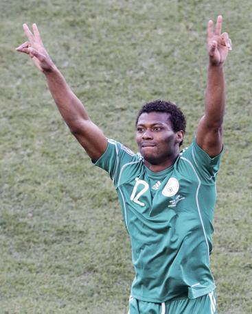 Grecia-Nigeria: Kalu Uche dopo il gol del vantaggio (Reuters/Kim Kyung-Hoon)