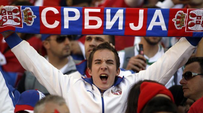 Germania-Serbia 0-1: un tifoso serbo (Ap)