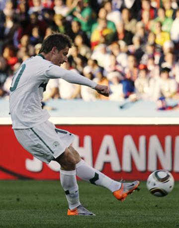 Birsa sigla il gol del vantaggio sloveno (Ap)