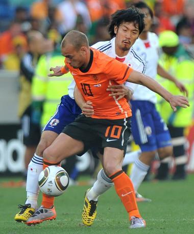 Olanda-Giappone 1-0: Sneijder e Abe (Epa)