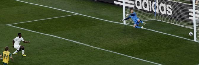 Ghana-Australia 1-1: il gol di Gyan (Ap)