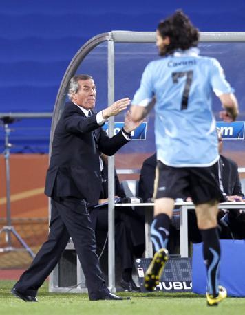 Messico-Uruguay 0-1: il ct uruguayano Oscar Washington Tabarez (Reuters)