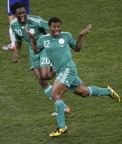 Nigeria-Corea del Sud 2-2: Uche festeggia dopo il gol (Reuters)