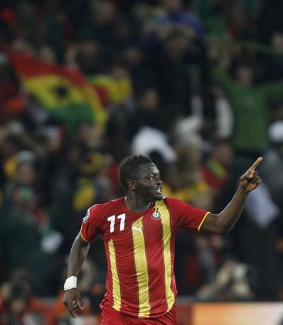 Uruguay-Ghana 5-3: Muntari, autore del gol del temporaneo vantaggio per i ghanesi al 48' del primo tempo (Reuters)