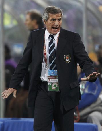 Uruguay-Ghana 5-3: Oscar Washington Tabarez, ct dell'Uruguay (Reuters)