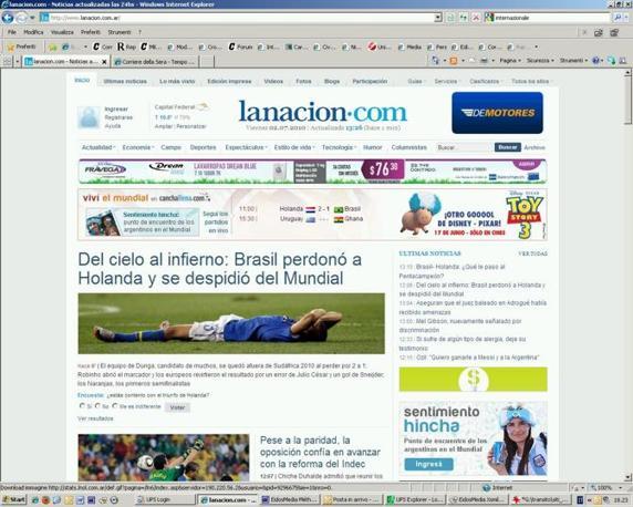 """Grande risalto alla sconfitta del Brasile anche sui giornali online argentini: """"La Nación"""""""