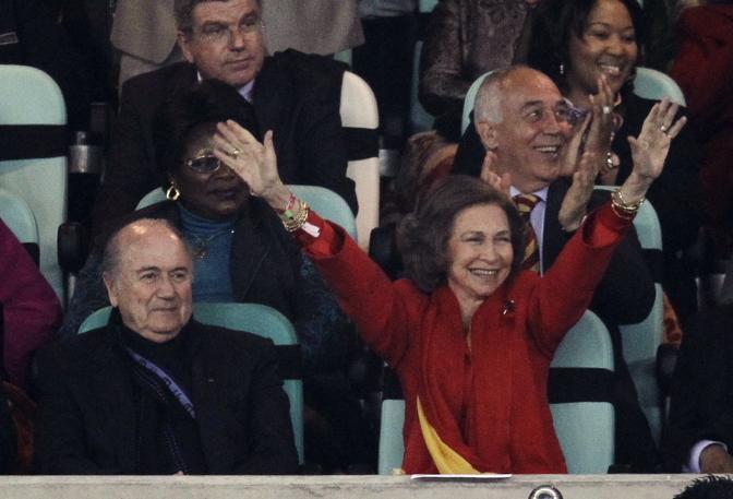 La regina Sofia esulta: la Spagna è in finale (Ap/Breloer)