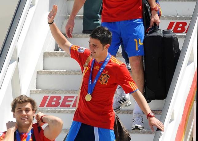 Il goleador David Villa saluta (Afp/Dani Pozzo)