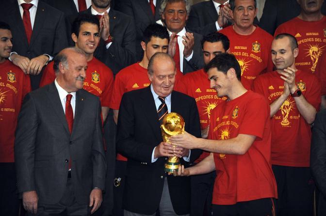 I campioni ricevuti da re Juan Carlos a Palazzo Reale (Afp/Dominique Faget)