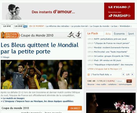 «I bleus lasciano il Mondiale dalla porta di servizio» è il titolo impietoso di Le Figaro