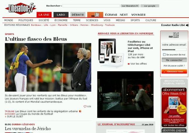«I giocatori francesi falliscono la loro missione e escono da un Mondiale da incubo», secondo il quotidiano Liberation