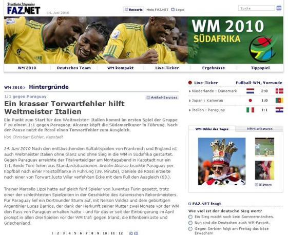 Frankfurter Allgemeine: «Una papera del portiere salva i campioni del mondo italiani»