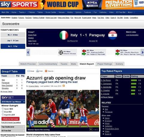 Sky News: «Gli azzurri agguantano un pari all'esordio»