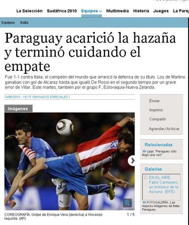 Clarin (Argentina): «Il Paraguay accarezza l'impresa e termina badando al pareggio»