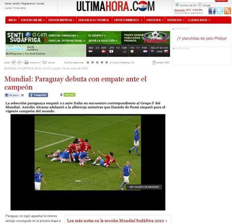 Ultima Hora (Paraguay): «Il Paraguay debutta con un pari davanti ai campioni»