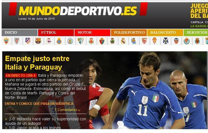 El Mundo (Spagna): «Pari giusto tra Italia e Paraguay»