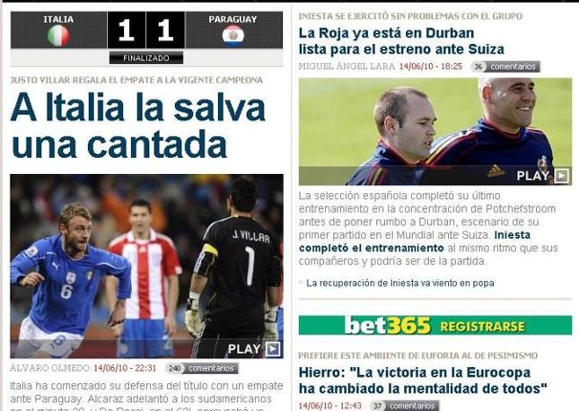 Marca, giornale sportivo spagnolo: «Italia salvata da una papera»