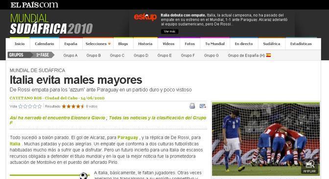El Pais (Spagna): «L'Italia evita guai maggiori»