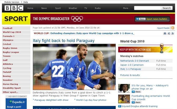 Bbc: «L'Italia combatte e agguanta il Paraguay»