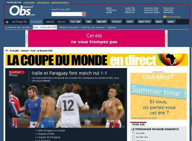 Nouvel Observateur: «Italia e Paraguay pareggiano 1-1»