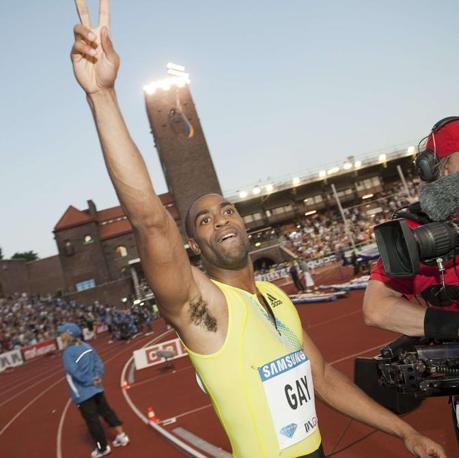 Tyson Gay ha battuto Usain Bolt al meeting di Stoccolma. Per il giamaicano si tratta della prima sconfitta in due anni sui 100 metri dopo aver collezionato 14 successi di fila (Reuters/Suslin)