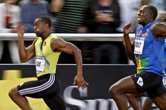 """Gay si è imposto in 9""""84 contro i 9""""97 del giamaicano, che detiene con il connazionale Powell il miglior tempo mondiale sulla distanza in 9""""82 (Ap/Larsson)"""